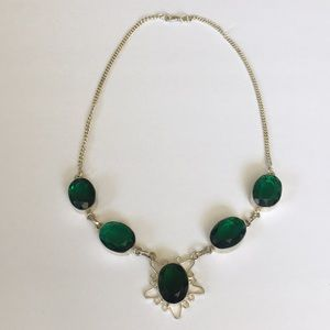 Jewelry - Emerald Green Stone Sterling Set Necklace